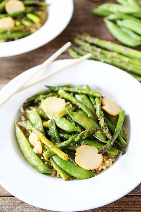 Spring Vegetable Stir Fry with Lemon Ginger Sauce Recipe on twopeasandtheirpod.com. One of our favorite healthy weeknight meals!