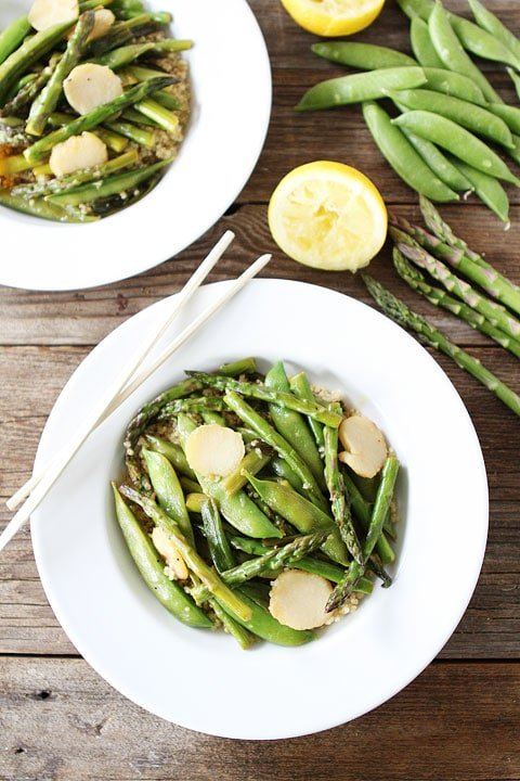 Spring Vegetable Stir Fry with Lemon Ginger Sauce Recipe on twopeasandtheirpod.com. Love this simple and healthy stir fry! #glutenfree #vegan
