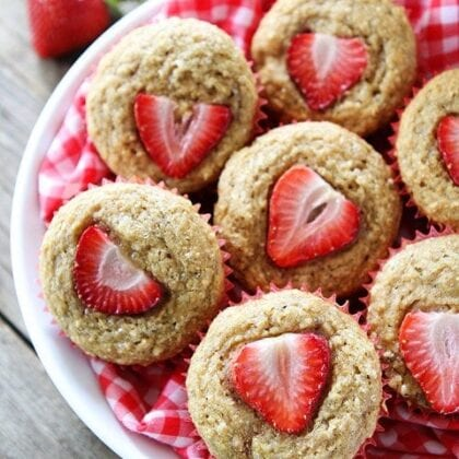 strawberry banana muffins made with whole wheat flour