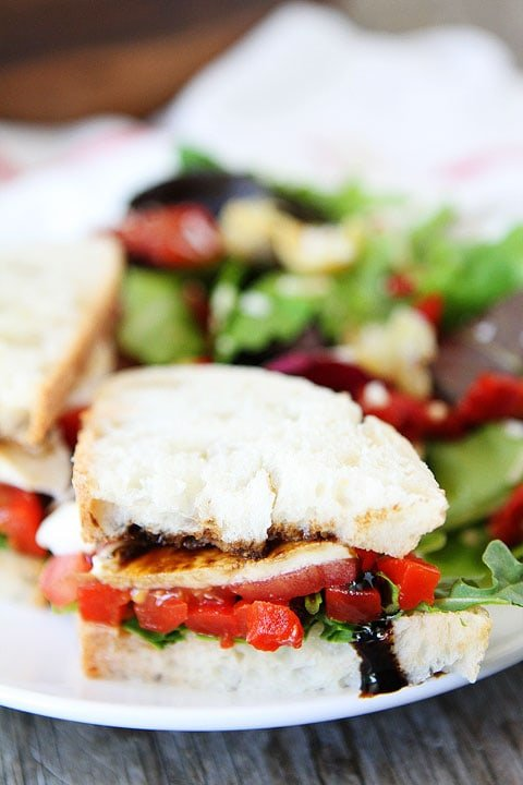 Roasted Red Pepper, Arugula, and Mozzarella Sandwich on plate