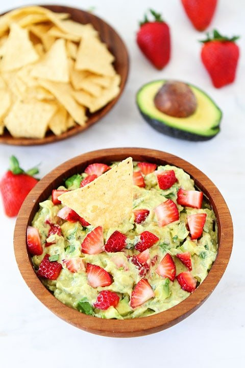 Strawberry Goat Cheese Guacamole Recipe on twopeasandtheirpod.com. Love this guacamole recipe! Great for parties!