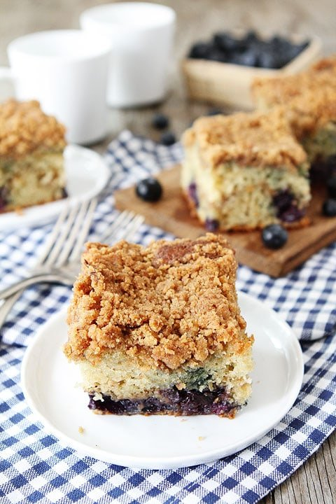 Blueberry Coffee Cake Slice on Plate