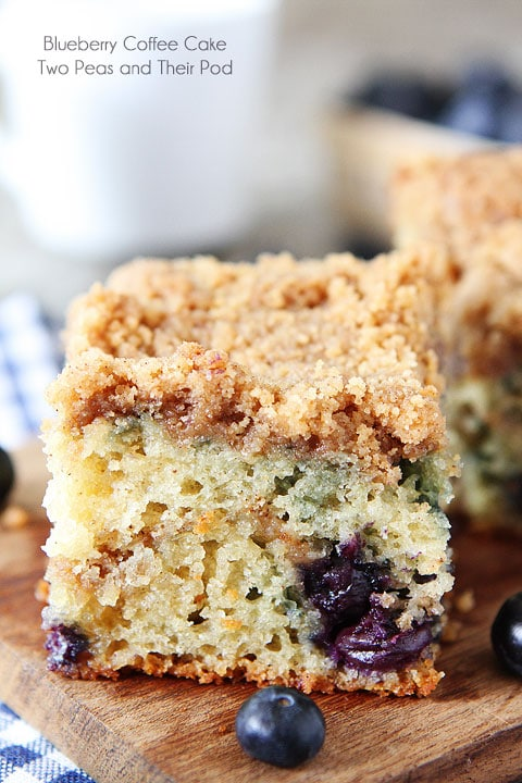Lemon Blueberry Coffee Cake on Cutting Board