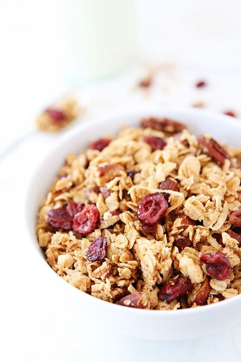 Brown Butter Maple Granola Recipe on twopeasandtheirpod.com. The brown butter makes this granola extra special! #granola #recipe