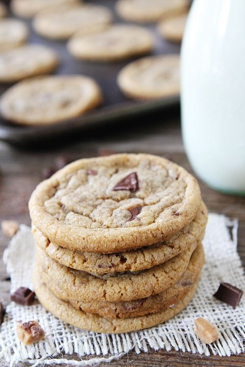 Brown Butter Toffee Chocolate Chunk Cookies Recipe on twopeasandtheirpod.com. These cookies are a favorite at our house! One of our very favorite cookie recipes!