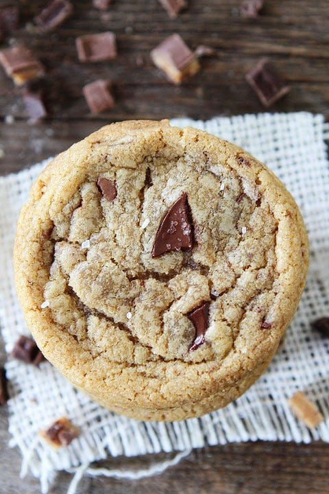 Brown Butter Toffee Chocolate Chunk Cookies Recipe on twopeasandtheirpod.com These cookies are the BEST! #cookies