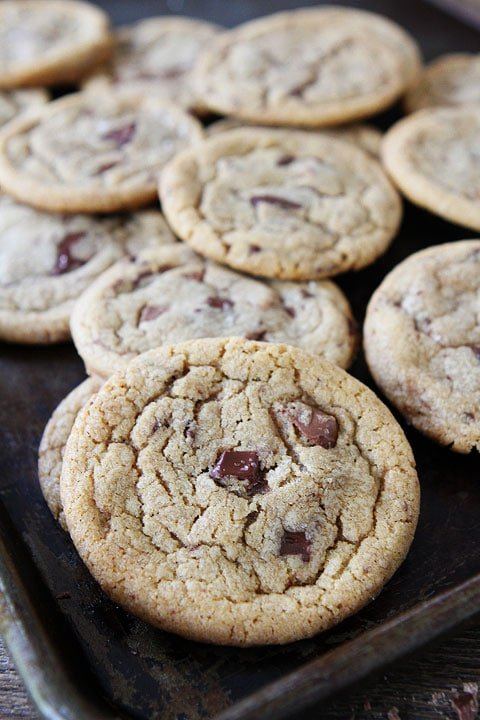 Brown Butter Toffee Chocolate Chunk Cookies Recipe on twopeasandtheirpod.com.The brown butter makes these cookies extra special! #cookies #recipe