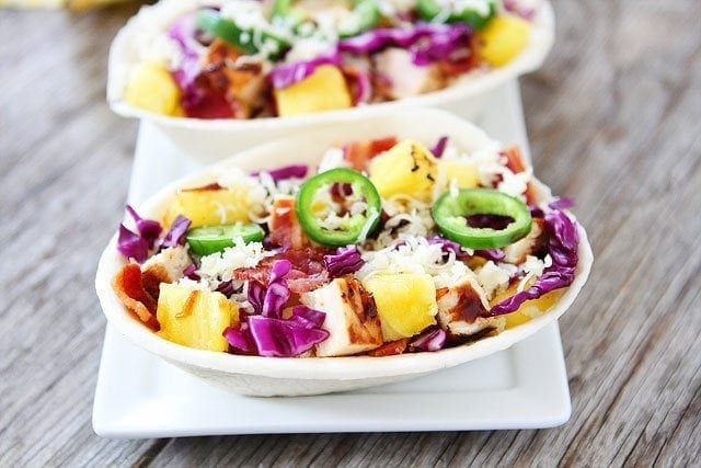 Grilled BBQ Chicken and Pineapple Tacos Recipe on twopeasandtheirpod.com