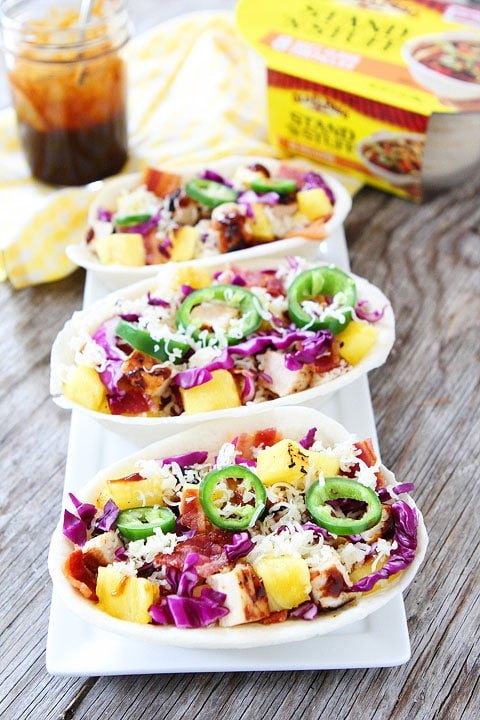 Grilled BBQ Chicken and Pineapple Tacos Recipe on twopeasandtheirpod.com. The perfect taco for grilling season! #grilling #summer