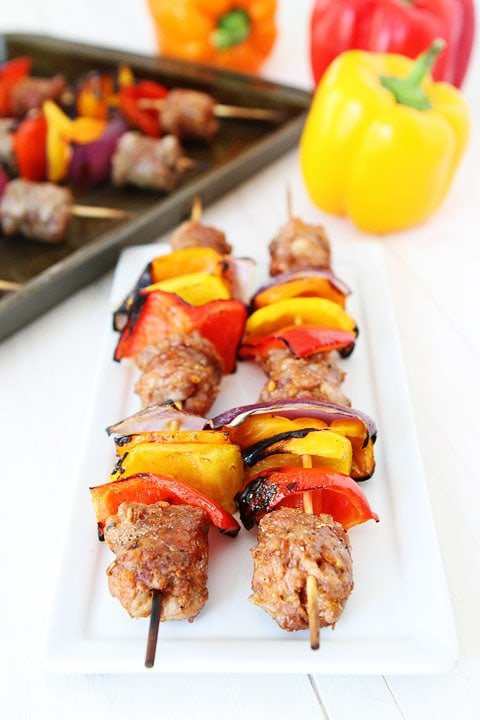 Sausage and Pepper Skewers Recipe on twopeasandtheirpod.com