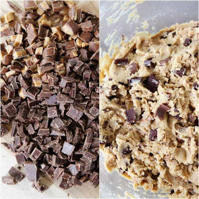 Brown Butter Toffee Chocolate Chunk Cookies Recipe on twopeasandtheirpod.com