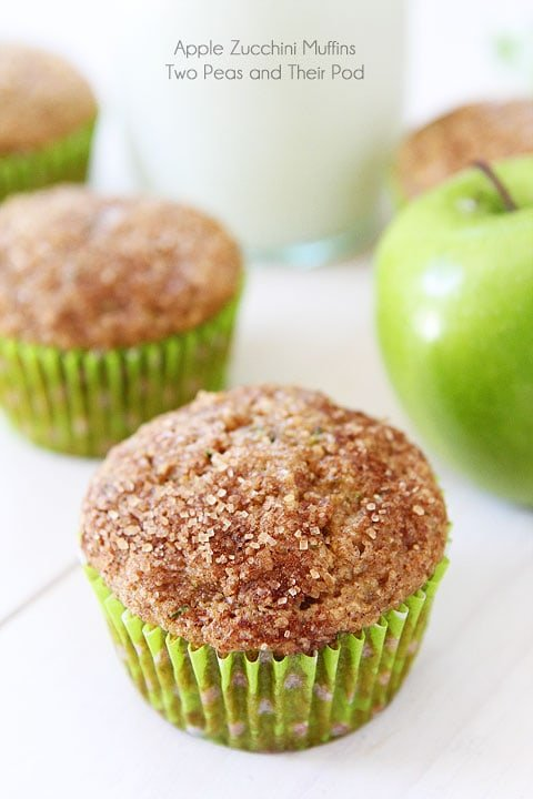 Healthy Zucchini Muffins with apple chunks baked in