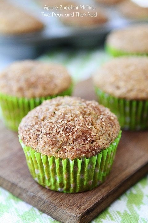 Apple Zucchini Muffins topped with cinnamon sugar