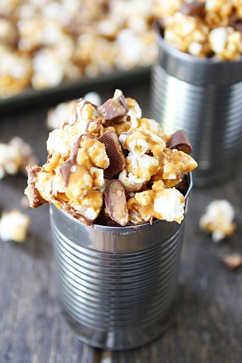 Butter Toffee Heath Popcorn Recipe on twopeasandtheirpod.com