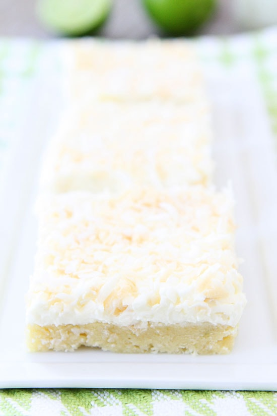 Coconut Lime Sugar Cookie Bars Recipe on twopeasandtheirpod.com The BEST sugar cookie bars! #cookies