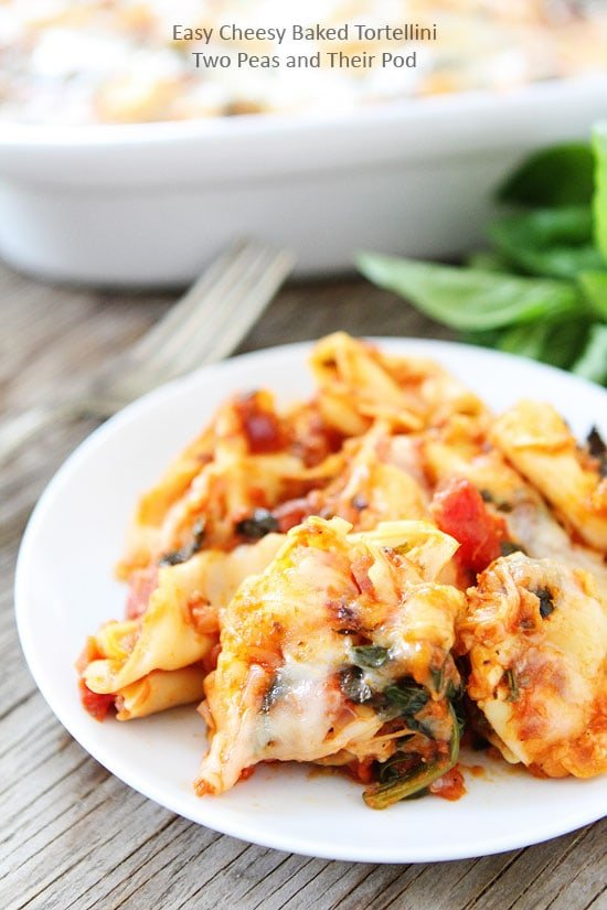 Easy Cheesy Baked Tortellini Recipe on twopeasandtheirpod.com