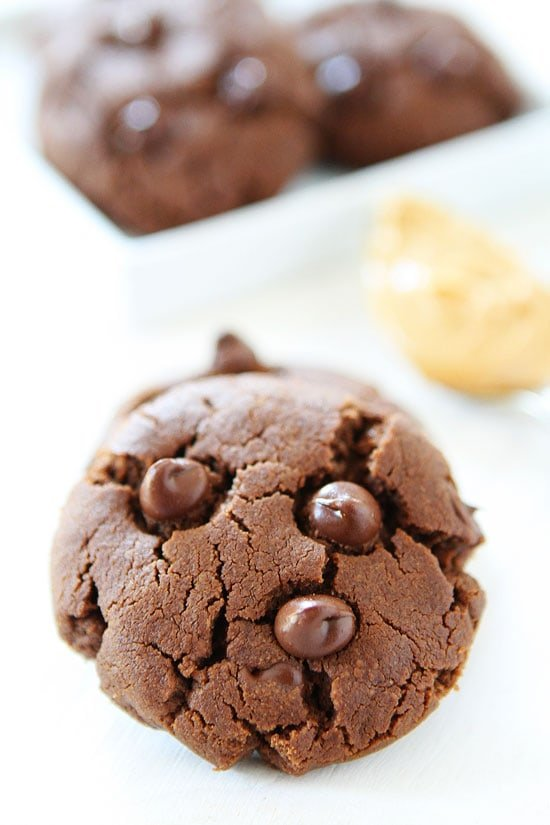 Gluten free Chocolate Peanut Butter Cookie with chocolate chips on top