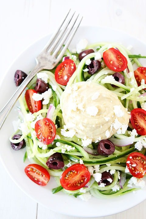 Greek Cucumber Noodles Recipe on twopeasandtheirpod.com Love this fresh and healthy dish! #glutenfree #summer