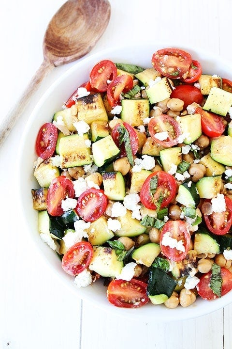 Grilled Zucchini, Chickpea, Tomato, and Goat Cheese Salad Recipe on twopeasandtheirpod.com #salad #zucchini #glutenfree