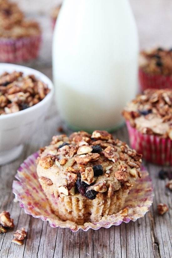 Mixed Berry Granola Muffins Recipe on twopeasandtheirpod.com Love this easy and healthy muffin recipe! #backtoschool