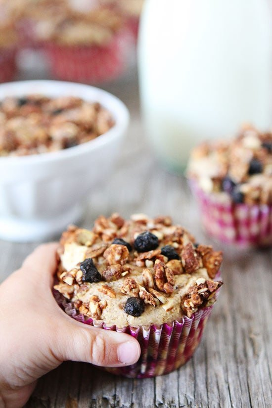 Mixed Berry Granola Muffins Recipe on twopeasandtheirpod.com