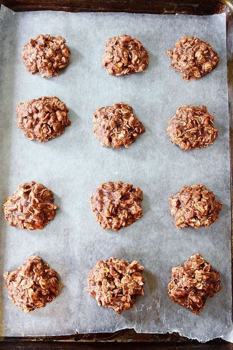 No Bake Cookies set out on wax paper to cool