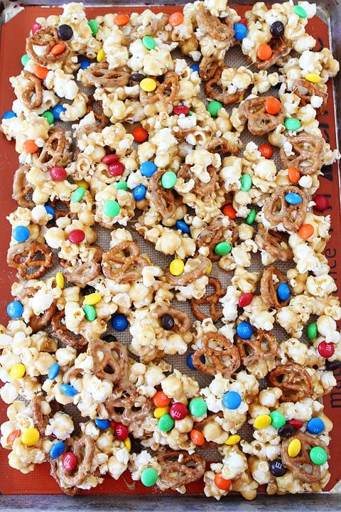 Sweet and Salty Marshmallow Popcorn Recipe on twopeasandtheirpod.com