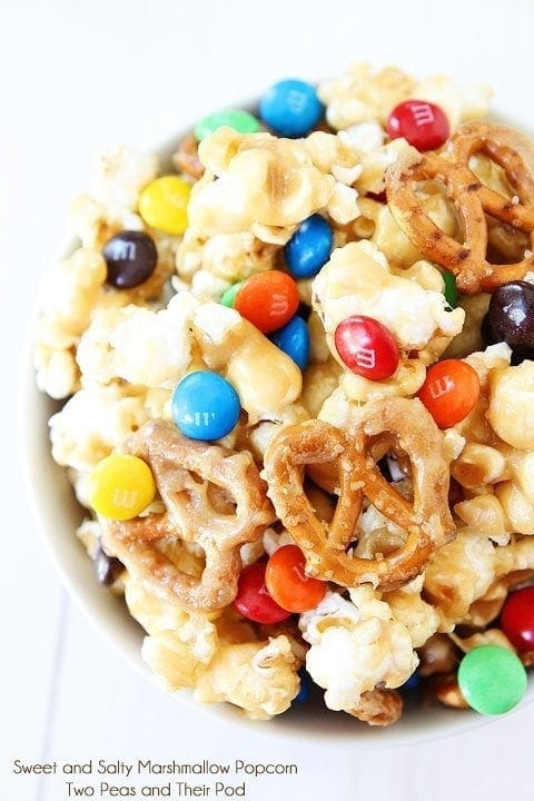 Sweet and Salty Marshmallow Popcorn Recipe on twopeasandtheirpod.com Love this sweet and salty snack! It's easy to make too!