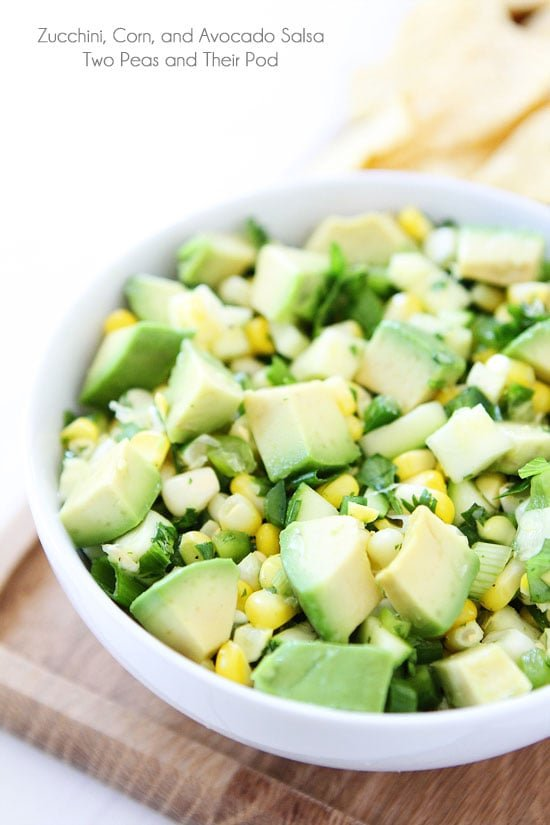 Zucchini, Corn, and Avocado Salsa Recipe on twopeasandtheirpod.com You will fall in love with this fresh and simple summer salsa! It is SO good! #glutenfree #vegan