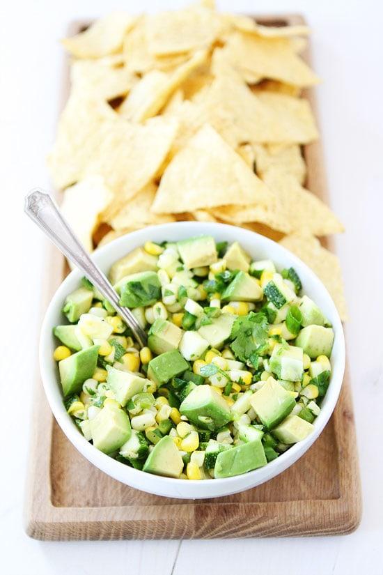 Zucchini, Corn, and Avocado Salsa Recipe on twopeasandtheirpod.com My favorite summer salsa! #zucchini #glutenfree #vegan