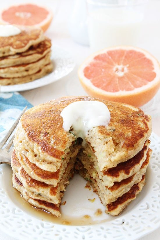 Zucchini Pancakes topped with butter and syrup
