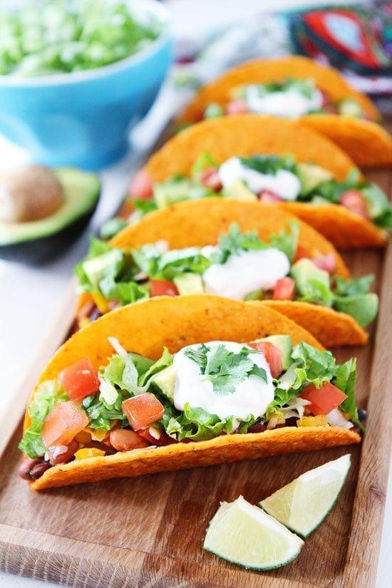 Three Bean Tacos Recipe on twopeasandtheirpod.com