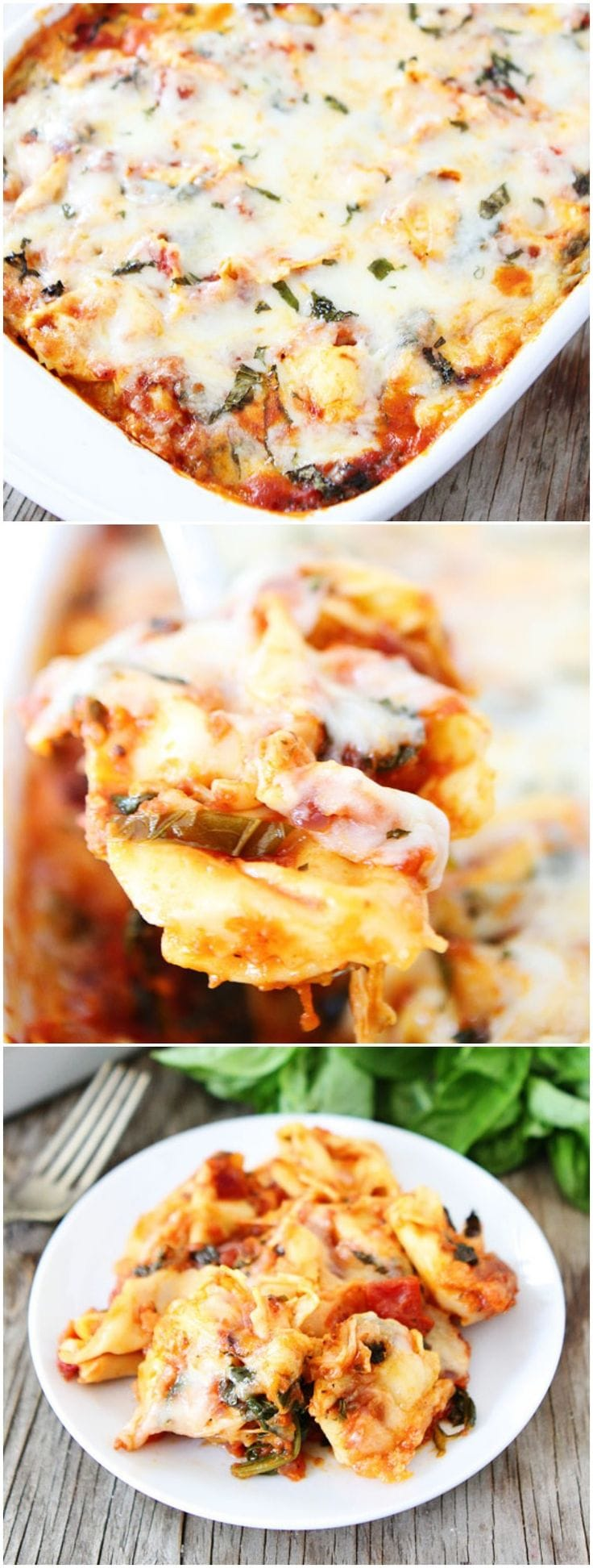 Easy Cheesy Baked Tortellini Recipe on twopeasandtheirpod.com Love this easy baked tortellini! It's one of our favorite dinners!