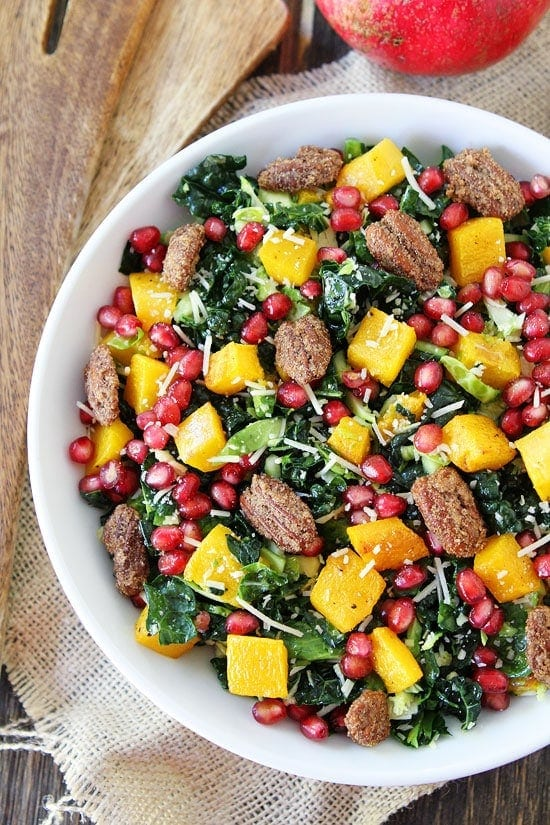 Kale and Brussels Sprouts Salad with Butternut Squash, Pomegranate, and Candied Pecans Recipe