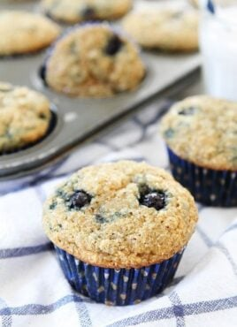 banana blueberry muffins warm out of the oven and ready to eat