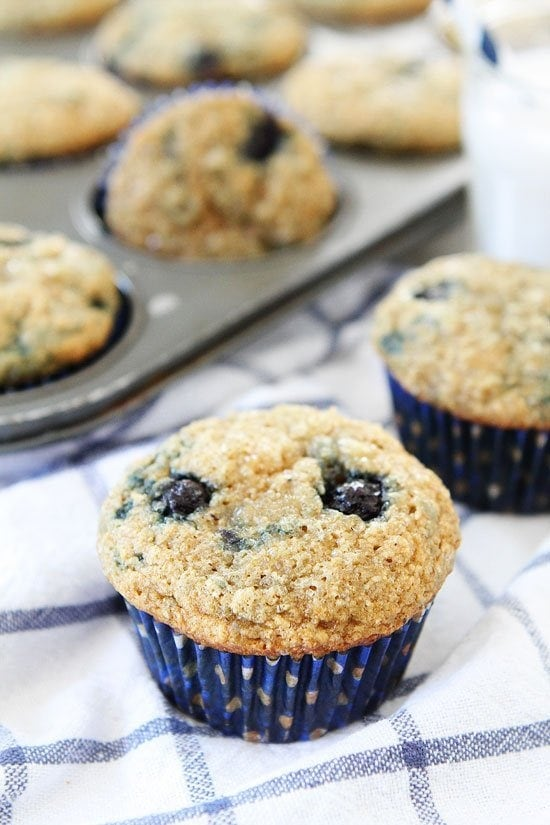 vegan banana muffins dotted with blueberries