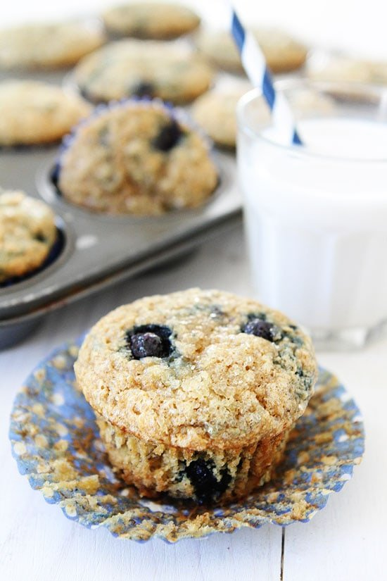 banana blueberry muffins out of the oven ready to eat