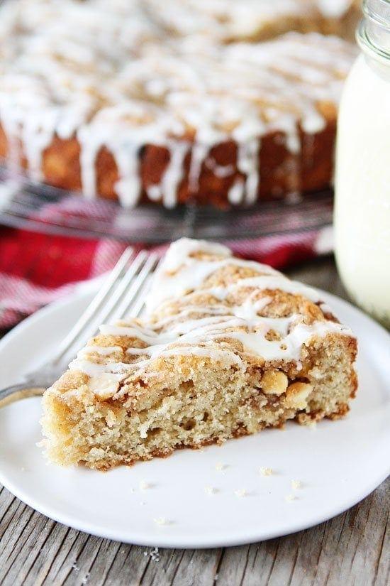 Eggnog White Chocolate Streusel Cake Recipe on twopeasandtheirpod.com