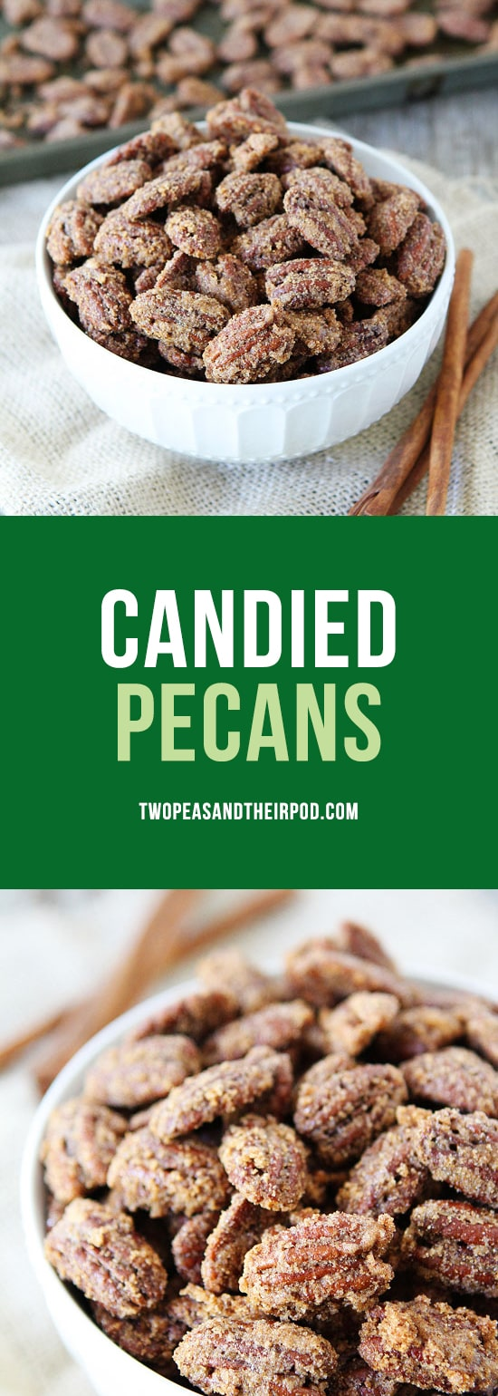 Candied Pecans are easy to make and great for salads, snacking, and gift giving! #pecans #holidays #Christmas