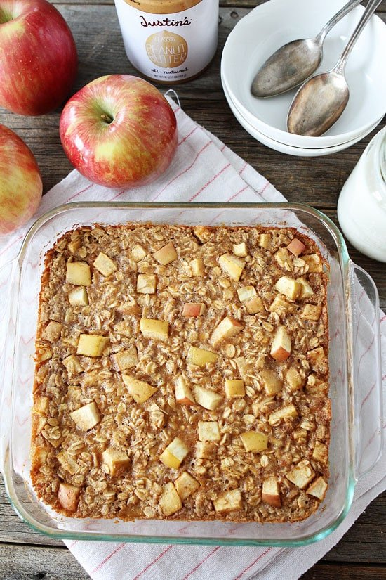 Baked Peanut Butter Apple Oatmeal Recipe on twopeasandtheirpod.com