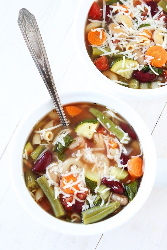 Healthy Slow Cooker Minestrone Soup Recipe in bowls