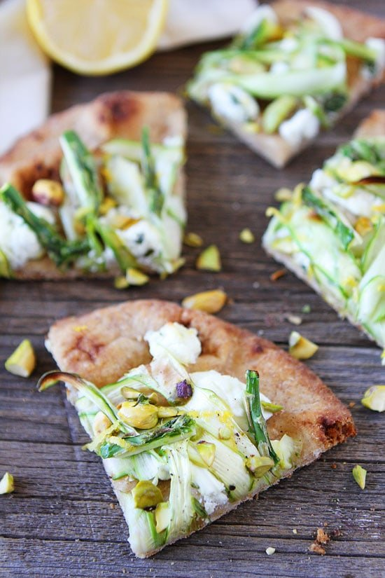 Asparagus, Goat Cheese, and Pistachio Flatbread Recipe