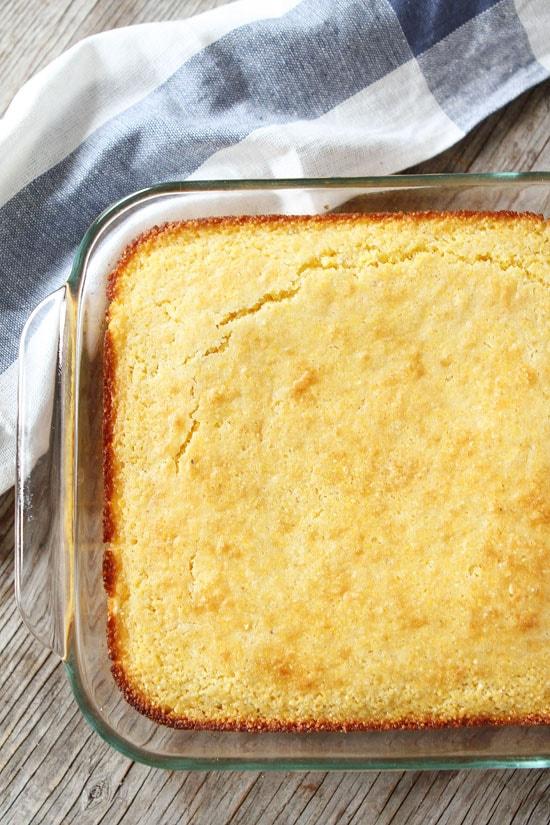 Pan of homemade cornbread made from easy cornbread recipe