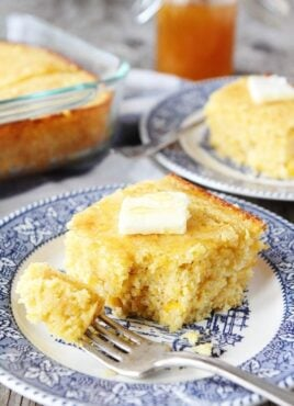 Homemade cornbread with butter and honey made from best cornbread recipe