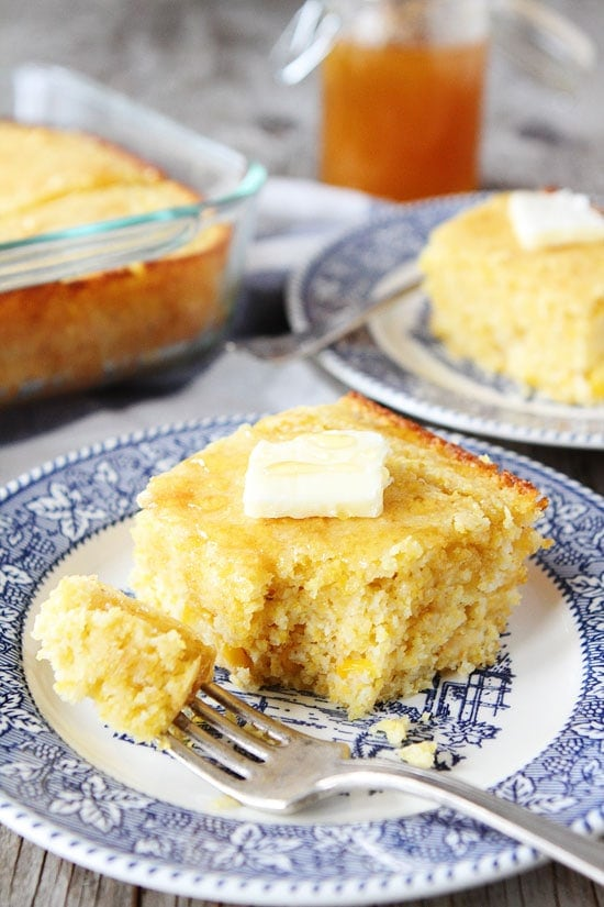Warm cornbread with butter on plate made from easy cornbread recipe