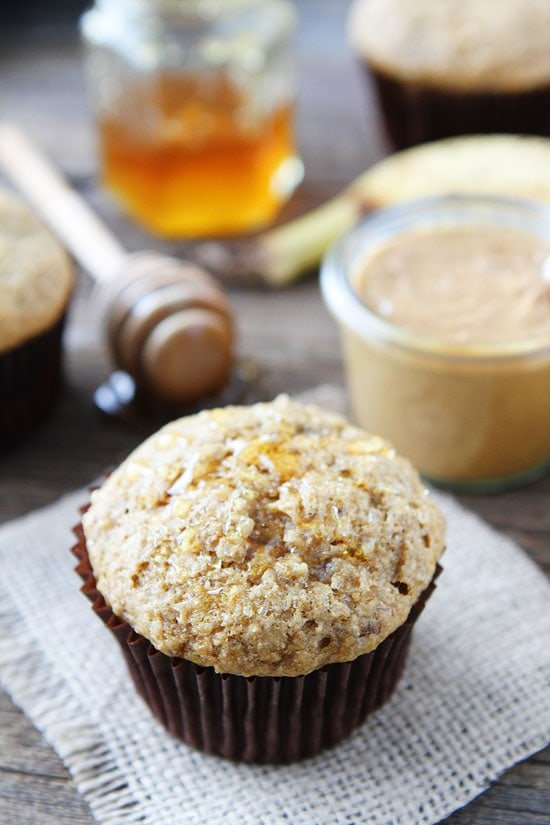 peanut butter banana muffins drizzled with honey