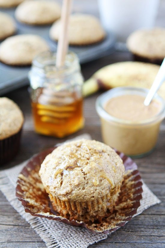 peanut butter banana muffins out of the oven and served with honey
