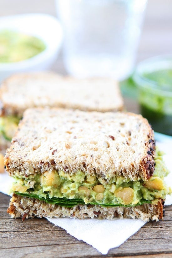 Smashed Chickpea, Avocado, and Pesto Salad Sandwich Recipe