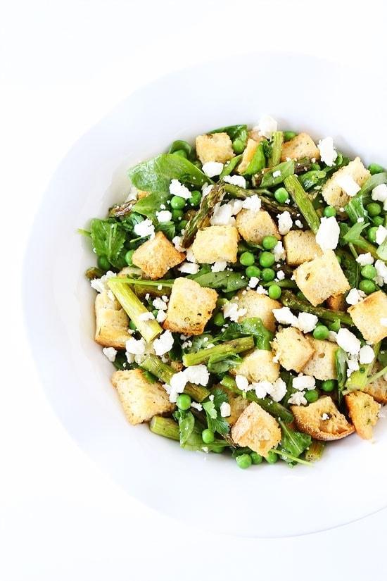 Spring Panzanella Salad Recipe on twopeasandtheirpod.com
