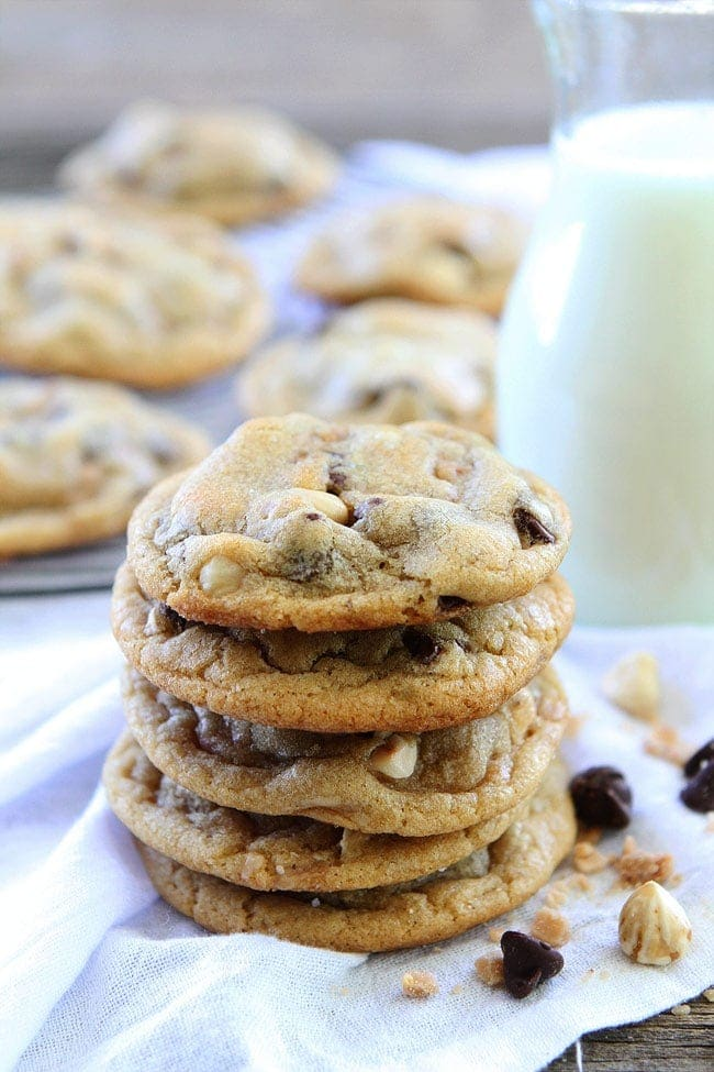 Hazelnut Toffee Chocolate Chip Cookies are a family favorite dessert!